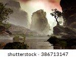 3d illustration of landscape... | Shutterstock . vector #386713147