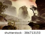 3d illustration of landscape... | Shutterstock . vector #386713153