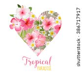 floral heart graphic design  ... | Shutterstock .eps vector #386717917