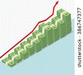 pile of money stacks rising... | Shutterstock .eps vector #386747377