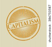 capitalism with rubber seal... | Shutterstock .eps vector #386753587