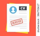 rejected cv. top view.... | Shutterstock .eps vector #386753617