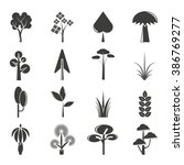 vector set of tree icons  park... | Shutterstock .eps vector #386769277