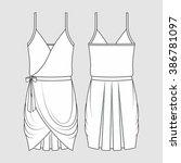 draped formal dress. fashion... | Shutterstock .eps vector #386781097