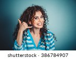 call me. closeup portrait... | Shutterstock . vector #386784907
