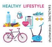 icons healthy living  sport ... | Shutterstock .eps vector #386787493