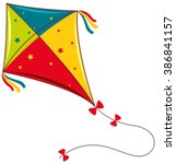 Colorful kite on white background illustration