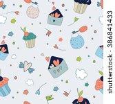 seamless vector floral pattern... | Shutterstock .eps vector #386841433