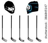 floorball equipment for a logo...   Shutterstock .eps vector #386845147