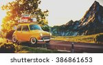 cute little retro car with... | Shutterstock . vector #386861653