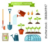 set of agriculture objects.... | Shutterstock .eps vector #386864947