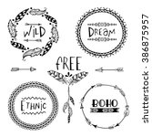 set of four creative boho style ... | Shutterstock .eps vector #386875957