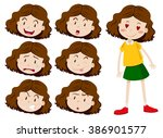 little girl with many facial... | Shutterstock .eps vector #386901577