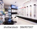 selection of modern eyeglasses... | Shutterstock . vector #386907307