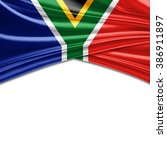 south africa flag of silk with... | Shutterstock . vector #386911897