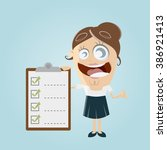 funny businesswoman with... | Shutterstock .eps vector #386921413