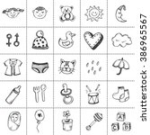 baby icons. hand drawn baby and ... | Shutterstock .eps vector #386965567