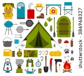 hiking icons set. camping... | Shutterstock .eps vector #386968327
