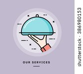 our services  flat design thin... | Shutterstock .eps vector #386980153