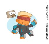 a series of characters on the... | Shutterstock .eps vector #386987257