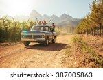 friends having fun in the open... | Shutterstock . vector #387005863