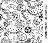 seamless fruit pattern.... | Shutterstock .eps vector #387006457