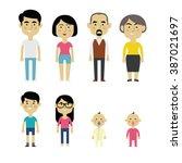flat vector asian family... | Shutterstock .eps vector #387021697