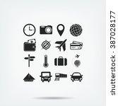 travel icons set | Shutterstock .eps vector #387028177