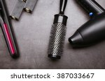barber set with equipment and... | Shutterstock . vector #387033667