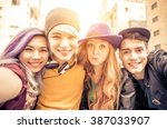teens portrait. group of... | Shutterstock . vector #387033907