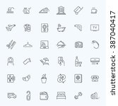 outline web icon set   hotel...