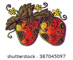 hand drawn decorative strawberry | Shutterstock .eps vector #387045097