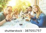 group of friends making... | Shutterstock . vector #387051757