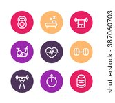 fitness line icons  thick... | Shutterstock .eps vector #387060703