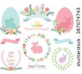 easter clip art.happy easter... | Shutterstock .eps vector #387074743