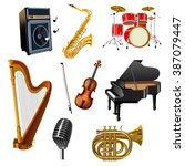 musical instruments set | Shutterstock . vector #387079447