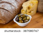 loaf of bread  piece of cheese  ...   Shutterstock . vector #387080767