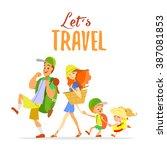 happy cartoon family going on... | Shutterstock .eps vector #387081853
