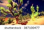 joshua trees on desert | Shutterstock . vector #387100477