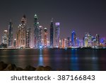 dubai marina night skyline.... | Shutterstock . vector #387166843