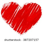 Grunge Red Heart. Heart Shape...