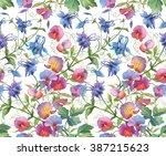 aquilegia flowers and sweet pea ... | Shutterstock . vector #387215623