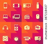 vector flat icon set   gadget  | Shutterstock .eps vector #387218437