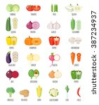 set of vegetables icons.... | Shutterstock .eps vector #387234937
