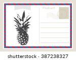 air mail postcard .vector... | Shutterstock .eps vector #387238327