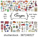 vector set with hand drawn... | Shutterstock .eps vector #387248527