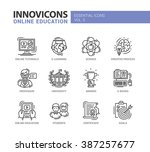 set of modern vector education... | Shutterstock .eps vector #387257677