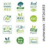 vector hand drawn eco organic... | Shutterstock .eps vector #387261853