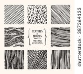 hand drawn textures and brushes.... | Shutterstock .eps vector #387264133