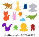 color baby silhouette animals... | Shutterstock .eps vector #387267337